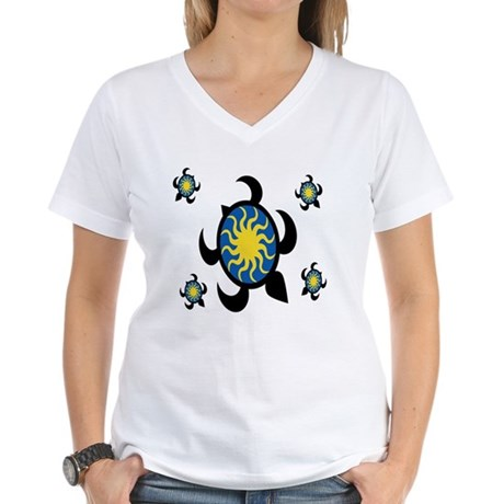 Sun Turtles Women's V-Neck T-Shirt
