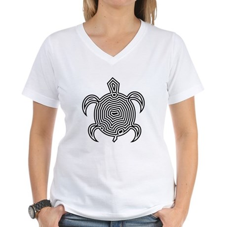 Labyrinth Turtle Women's V-Neck T-Shirt