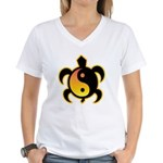 Gold Yin Yang Turtle Women's V-Neck T-Shirt