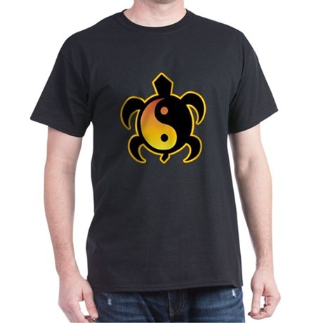 Gold Yin Yang Turtle Dark T-Shirt