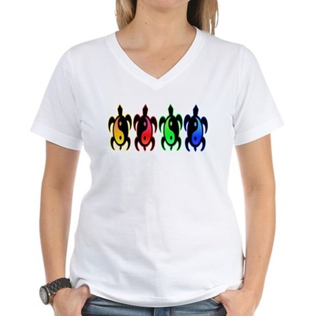 Multicolor Yin Yang Turtles Women's V-Neck T-Shirt