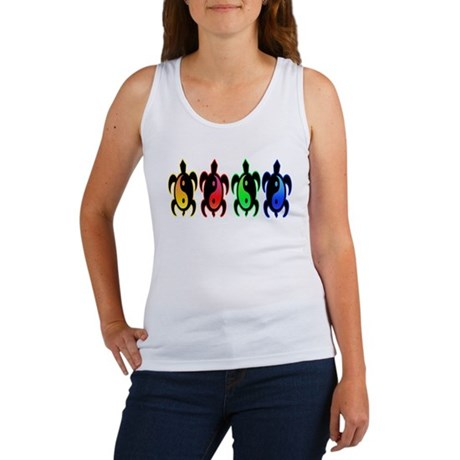 Multicolor Yin Yang Turtles Women's Tank Top