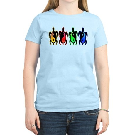 Multicolor Yin Yang Turtles Women's Light T-Shirt