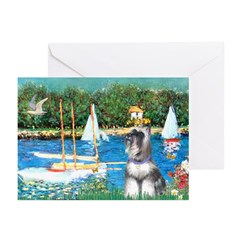 Sailboats /Min Schnauzer Greeting Cards (Pk of 10)