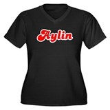 Retro Aylin (Red) Women's Plus Size V-Neck Dark T-