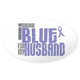 I Wear Blue For My Husband 6 Oval Sticker (10 pk)