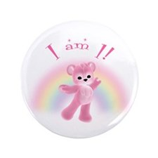 "Rainbow Bear First Birthday Girl 3.5"" Button"