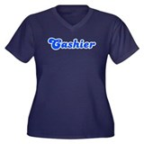 Retro Cashier (Blue) Women's Plus Size V-Neck Dark