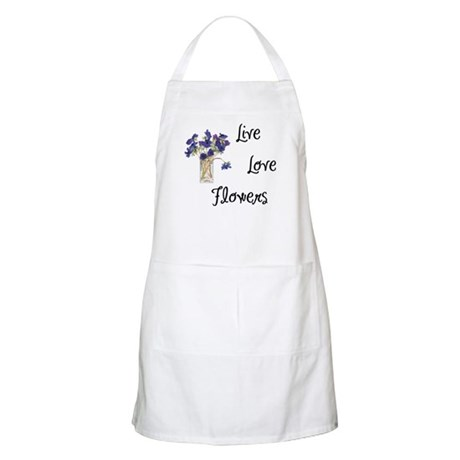 Live, Love and Flowers BBQ Apron