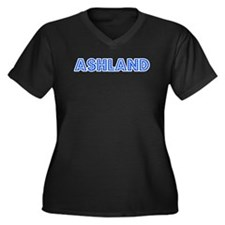 Retro Ashland (Blue) Women's Plus Size V-Neck Dark