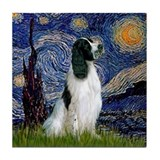Starry Night English Springer Tile Coaster