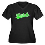 Retro Walsh (Green) Women's Plus Size V-Neck Dark