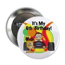 Racing Car 6th Birthday Button