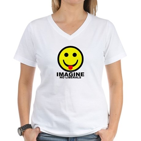 Imagine No Liberals Women's V-Neck T-Shirt