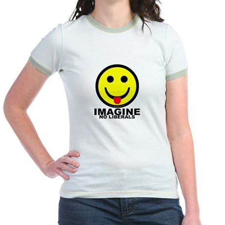 Imagine No Liberals Jr. Ringer T-Shirt