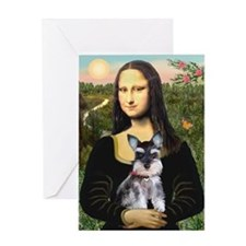 Mona Lisa's Schnauzer Puppy Greeting Card