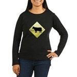 CAUTION! Cattle Crossing Women's Long Sleeve Dark