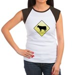 CAUTION! Cattle Crossing Women's Cap Sleeve T-Shir