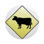 CAUTION! Cattle Crossing Ornament (Round)