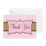 Pink Brown Flowered Thank You Greeting Card