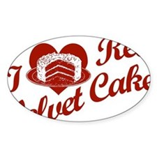 I Love Red Velvet Cake Oval Decal