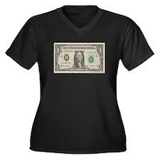 Dollar Bill Women's Plus Size V-Neck Dark T-Shirt