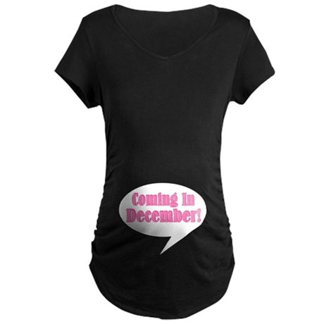 Coming In December Belly Print Maternity Tee