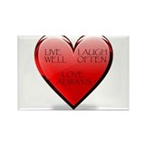 Live Laugh Love Heart Rectangle Magnet (100 pack)