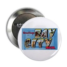 "Bay City Michigan Greetings 2.25"" Button (10 pack)"