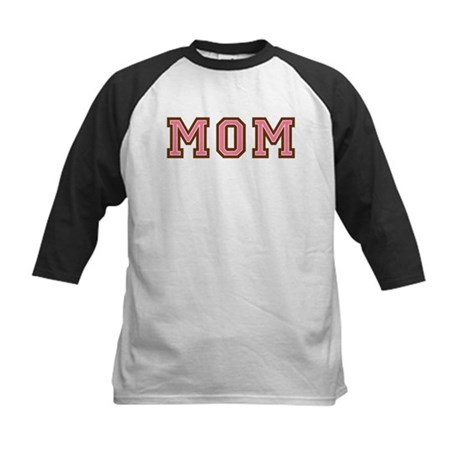 Collegiate Text Mom Pink Brown Kids Baseball Jerse