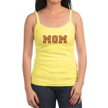 Collegiate Text Mom Pink Brown Jr. Spaghetti Tank
