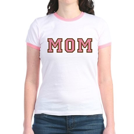 Collegiate Text Mom Pink Brown Jr. Ringer T-Shirt