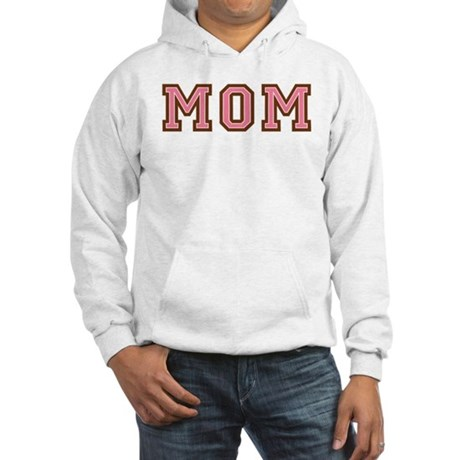 Collegiate Text Mom Pink Brown Hooded Sweatshirt