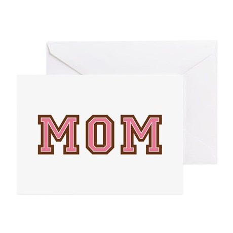 Collegiate Text Mom Pink Brown Greeting Cards (Pk