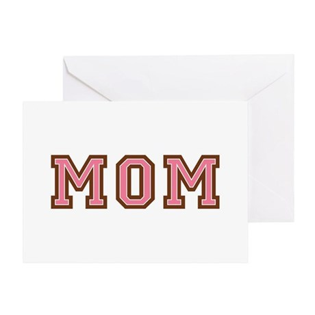 Collegiate Text Mom Pink Brown Greeting Card