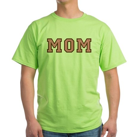 Collegiate Text Mom Pink Brown Green T-Shirt
