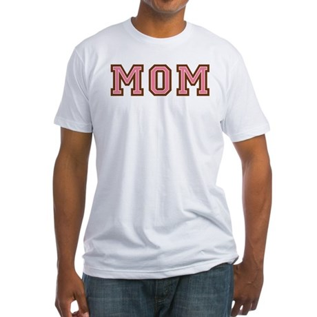 Collegiate Text Mom Pink Brown Fitted T-Shirt