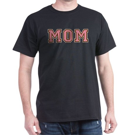 Collegiate Text Mom Pink Brown Dark T-Shirt