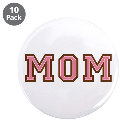"Collegiate Text Mom Pink Brown 3.5"" Button (10 pac"