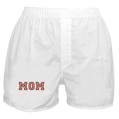 Collegiate Text Mom Pink Brown Boxer Shorts