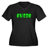 Oviedo Faded (Green) Women's Plus Size V-Neck Dark