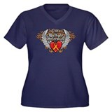 MS Heart and WIngs Women's Plus Size V-Neck Dark T
