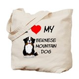 I Love Heart Bernese Dog Tote Bag