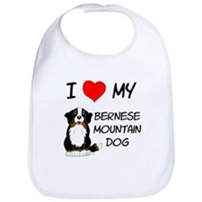 I Love Heart Bernese Dog Bib