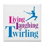 Living Laughing Twirling Tile Coaster