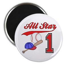"""AllStar Baseball First Birthday 2.25"""" Magnet (100"""