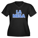 Retro La Mesa (Blue) Women's Plus Size V-Neck Dark