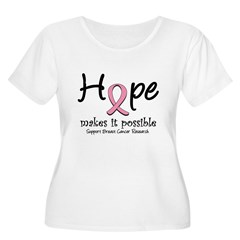 Hope Breast Cancer Women's Plus Size Scoop Neck T-