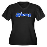 Retro Nanny (Blue) Women's Plus Size V-Neck Dark T