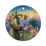 St Francis/Golden Retriever Ornament (Round)